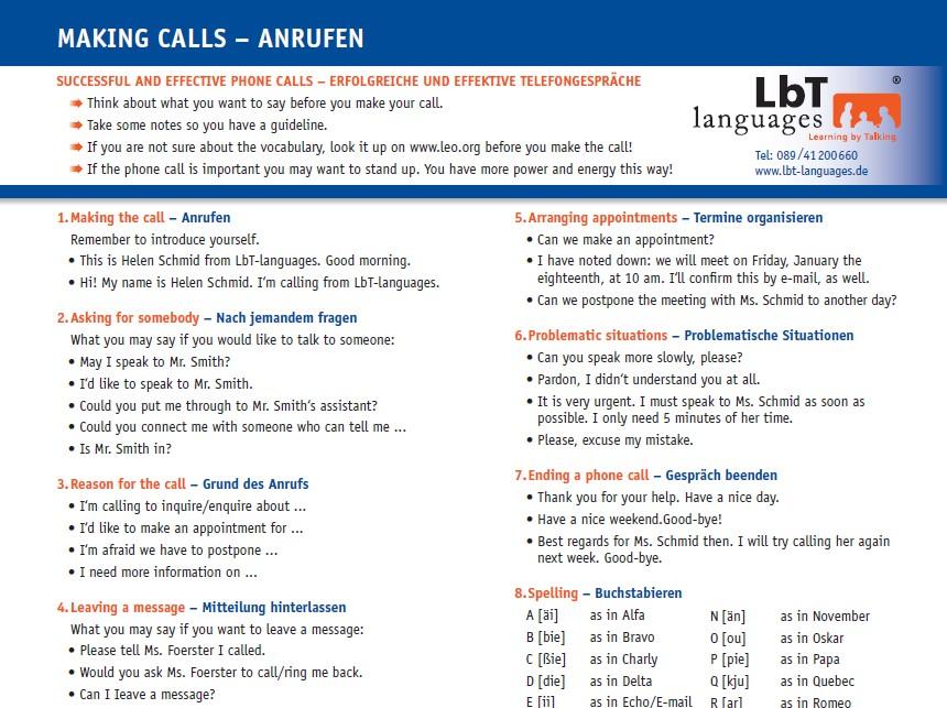 Business Englisch telefonieren